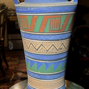 Mexican Opaque Ware - Aztec / Mayan Revival Vase - another one! - Pottery