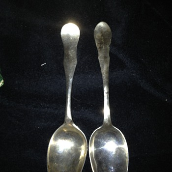 18th Century Swedish (?) Sterling Serving Spoons -Funny monograms - Silver