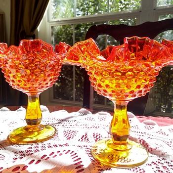 Fenton Amberina Hobnail Glass Ruffle Compote - Glassware