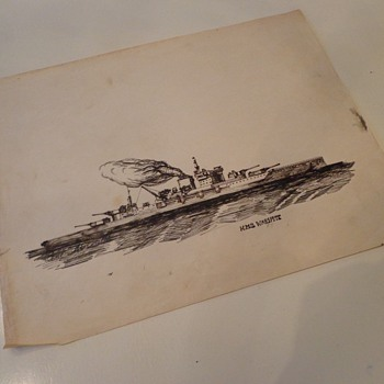Vintage HMS Warspite Pen Drawing