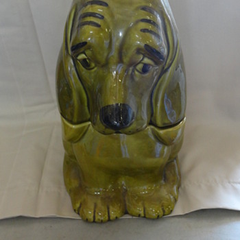 Vintage Green Basset Hound Cookie Jar - Kitchen