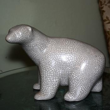 Mid-century Polar Bear w/ Crackle Glaze - Pottery