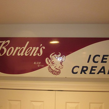 Bordens's Porcelain Ice Cream Sign - Advertising