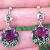 Bernard Instone Silver Amethyst and Green Paste Earrings
