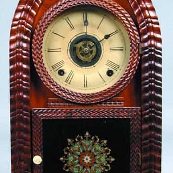 "J. C. Brown ""Ripple Front"" Beehive (Gothic Arch) Mantel Clock - Clocks"