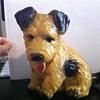 Large Yellow Ceramic Dog Figurine