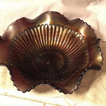 Wavy carnival glass bowl - Glassware
