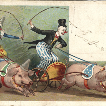 Clown laden pigs fantasy postcard - Postcards
