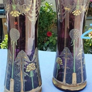 French Art Nouveau Pair Amethyst Glass Vases 10inches tall - Art Glass