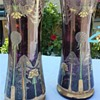 French Art Nouveau Pair Amethyst Glass Vases 10inches tall