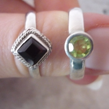 Two Silver Rings(Peridot & Garnet)  - Costume Jewelry