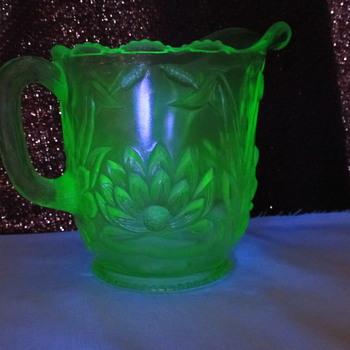 Vaseline glass creamer - water lilly...ID? - Glassware