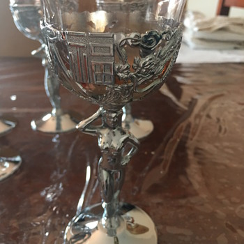 Naked lady drinking glass. Chrome plated  - Glassware
