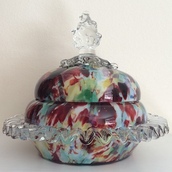 Welz covered bowl, flame finial