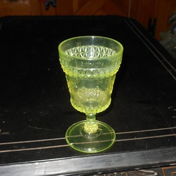 Vaseline Glass Goblet Adams Wildflower Patterm 1880s Or Mosser and Modern? - Glassware