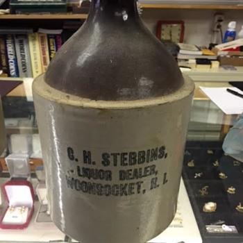 C.H. Stebbins Liquor Dealer Woonsocket, R.I. Stoneware 1 gal. Jug - Pottery