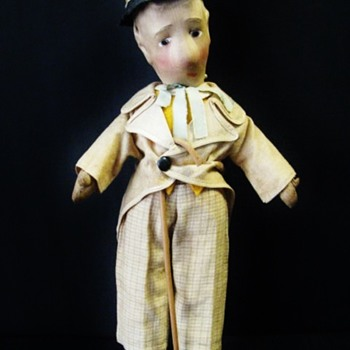 Cloth Molded Face Doll European ca.1930 - Dolls