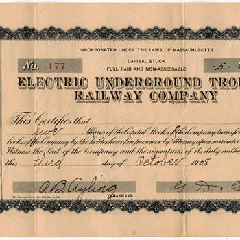 1908 - Underground Trolley Stock Certificate - Paper