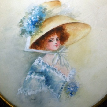 Prettiest Gibson Girl In The World! Watercolor Painting Brass & Lead Ormolu frame. - Fine Art