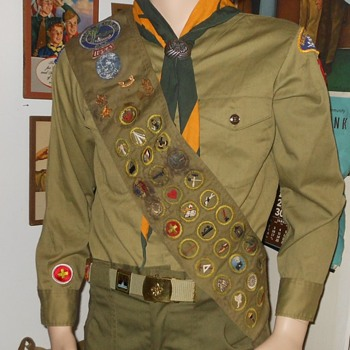 Vintage Boy Scout Sash With Merit Badges and Pins 1954 - Medals Pins and Badges
