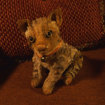 Antique Mohair Jointed Tabby Cat Maybe Steiff? - Dolls