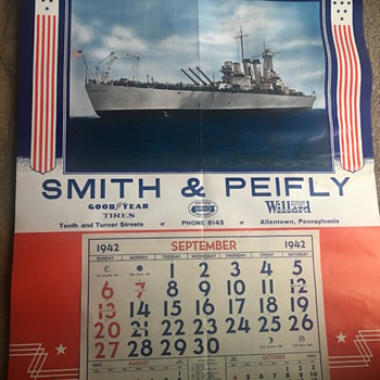 1942 WW2 Advertising Calendar  - Military and Wartime