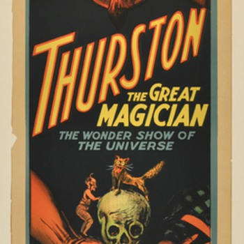 """Original 1914 Thurston """"Wonder Show of the Universe"""" Stone Lithograph Poster"""
