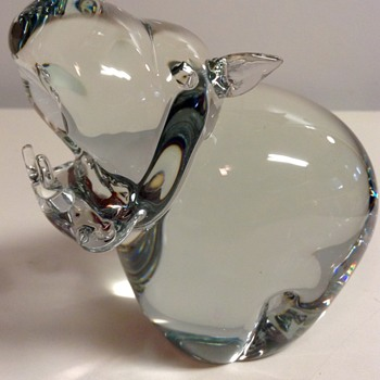 Crystal Hippo Paper Weight Figurine  - Art Glass