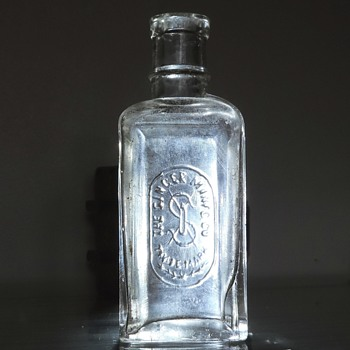 1900's Singer Sewing Machine Oil Bottle Embossed Clear Vintage Antique - Petroliana