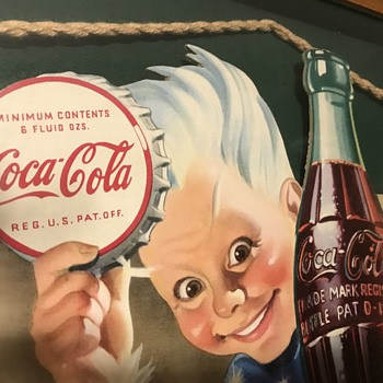Sprite Boy Sparkles in this beautiful 1944 Coke sign!!! Cardboard Perfection - Coca-Cola