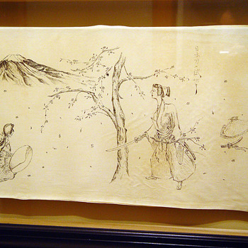 Japanese Ink Drawings on Silk 1944 - Asian