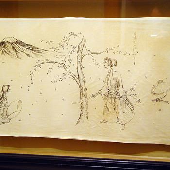 Japanese Ink Drawings on Silk 1944