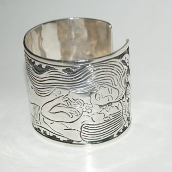 Unusual Large and Very Heavy Los Ballesteros Mexico Silver Cuff - Fine Jewelry