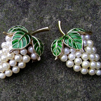 Trifari Enamel Pearl Grape Cluster Pin-Gems of the Sea                                    - Costume Jewelry
