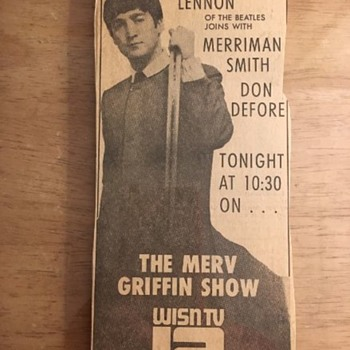 John Lennon on Merv Griffin Show-1965 - Paper