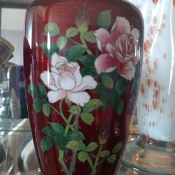 Cloisonne blood red vase - Asian