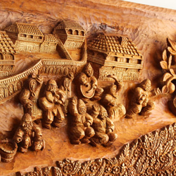 Fede Hand made wood carving panel - Fine Art