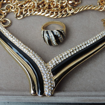 Beautiful Monet Necklace and Ring - Costume Jewelry