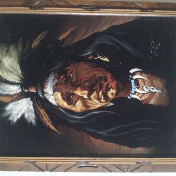 Signed velvet Native American painting