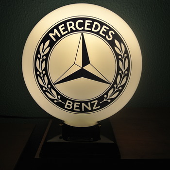 2-Sided Mercedes Benz Milk Glass Lighted Globe - Advertising