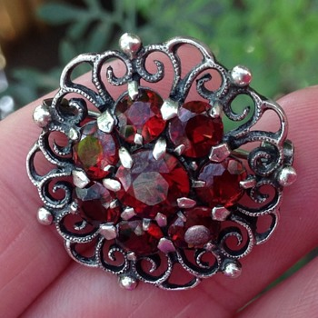 Bernard Instone Silver and Garnet Brooch - Art Deco