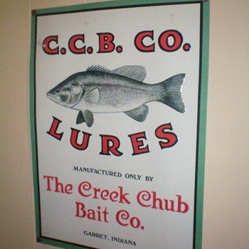 vintage metal sign from The Creek Chub Bait Co.