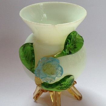 Victorian glass vase with applied flower & feet - Art Glass
