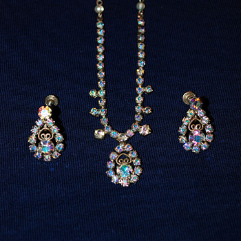 Aurora Borealis Costume Jewelry-Necklace and Earrings - Costume Jewelry
