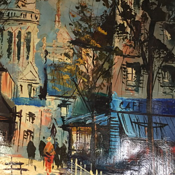 Painting of a street scene.