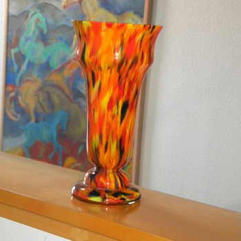 Art Deco Czech Spatter vase - Art Glass