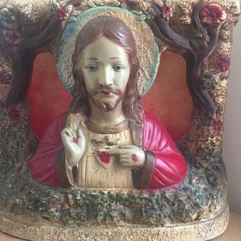 Vintage 1955 Jesus Chalkwre Statue Light Unknown Co. ??? - Figurines