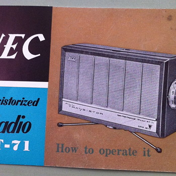 NEC Transistorized radio NT-71 booklet.