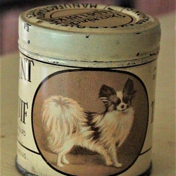 """Tabac A Priser"" Tobacco Tin With Papillon Dog Lithograph"