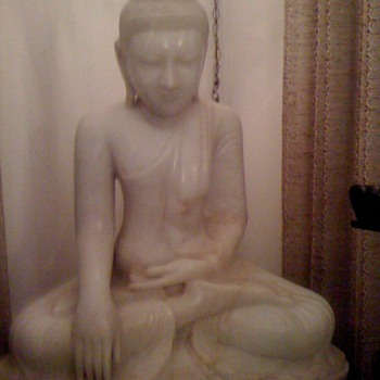 """Buddha sculpture from (we believe) the 1904 World's Fair.  White marble; weight 300 pounds; 34"""" tall; 30"""" wide; 15"""" deep.   - Asian"""